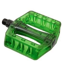 """Wellgo plastique Transparent/VTT/BMX/FIXIE plateforme Pédales 9/16 """"(manivelle Vert 3 pièces)"""