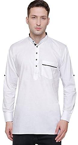 Short Kurta Shirt Men's Fine Cotton Designer Indian Fashion Clothes (White, S)