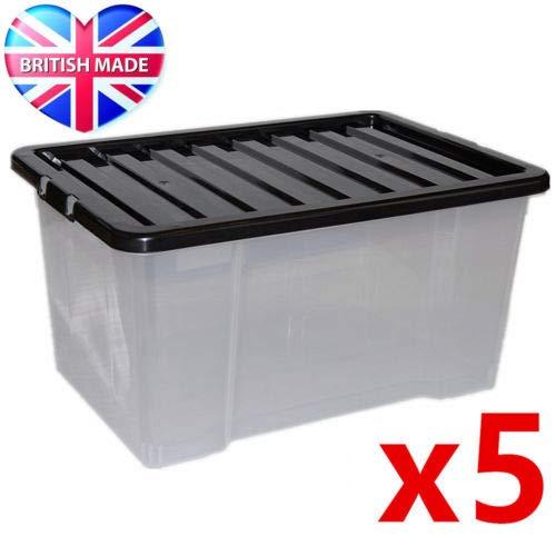 Caja de almacenamiento de plástico grande Caja de almacenamiento de plástico de 24L - Contenedores de almacenamiento transparentes, grandes, resistentes y apilables   Paquete de 5