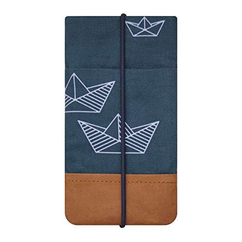 Kuratist Handytasche - Handgemacht - Kompatibel mit iPhone 11/11 Pro, Max/XS Max/XR/iPhone 6/7/8 Plus, Huawei P30 Pro/P20 Lite, Premium Baumwolle und Papier - 100% Tier frei (Paper Boat)