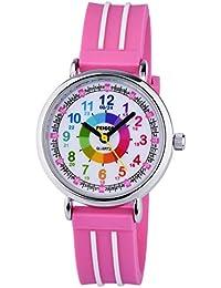 Reloj de Pulsera Impermeable para Profesor de Tiempo para Adolescentes, niñas, Esfera de Color Arco Iris, fácil de Leer, dial numérico, Reloj para niños, Bonito (Banda Rosa)