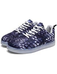 LED Schuhe Freizeit Damen Herren Erwachsener Laufschuhe Atmungsaktive Fabric 7 Farbe USB Aufladen Leuchtend Sportschuhe Low-top LED Farbwechsel Mode Sneakers Lässig Bass Turnschuhe für Mädchen Jungen