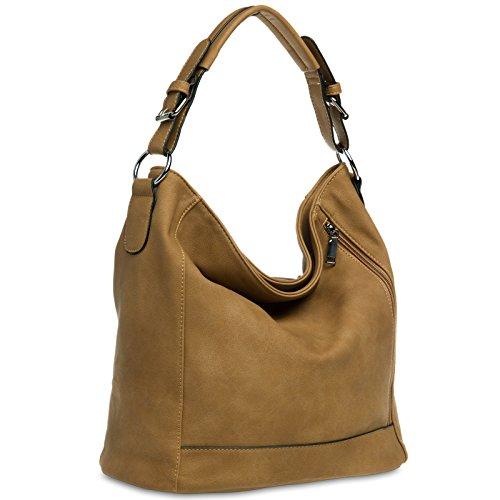 CASPAR TS917 Damentasche / Handtasche / Shopper / Schultertasche / Messenger Bag / Hobo Bag, Farbe:camel (Leder-camel Hobo)