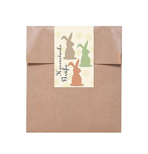 10 kleine braune Papiertüten 13 x 18 cm Ostertüten Frohe Ostern Geschenktüten pastell natur gelb + 10 Osteraufkleber Osterhase HASENSTARKE OSTERGRÜSSE Geschenkbeutel für give-aways Kinder