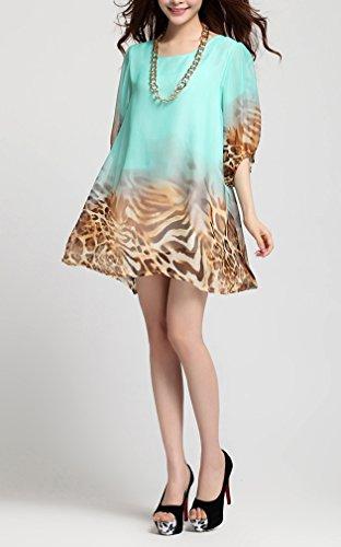 Smile YKK Femme Robe Mousseline de soie Elégante Taille Loose Vert