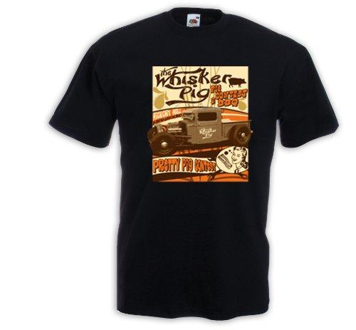 Hot Rod T-Shirt Whisker Pig Rockabilly Tattoo Pinup Rat Rod Schwarz