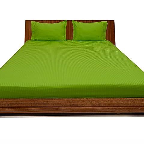 royallinens Scala Set magnifique 3Drap-housse à rayures (Taille de poche: 76,2cm), Coton, Motif rayures Vert perroquet, Taille simple britannique
