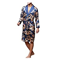 Qfeng Night Robe Men Kimono Bathrobe Satin Robe Long Sleeve Nightgown Dressing Gown Nightwear Sleepwear (Royal Blue,M)