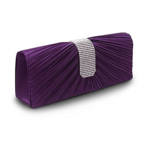 AiSi Ladies Diamond Pleated Satin Style Evening Party Clutch Wedding Prom Purse Bridal