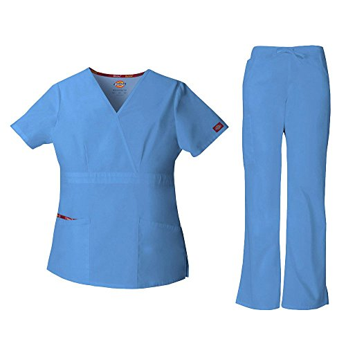 Everyday Scrubs Signature Frauen Mock Wrap Top & Drawstring Hose Scrub Set gro?e Petite Ceil Blue (Blue Hose Scrub Drawstring)