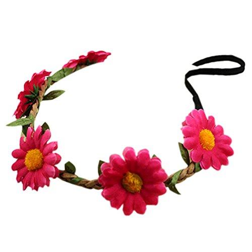 floristikvergleich.de Bluelans® Hippie-Liebe Blumenkranz Blumenkrone Festival Hochzeit Haarkranz BOHO Blumenstirnband (Rose Rot)