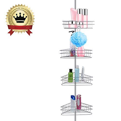 Ejoyous Estantería telescópica para ducha, estantería de ducha de metal, estantería de ducha de esquina con 4 estantes, estantería de metal ajustable, montaje sin agujeros, altura regulable 233~243 cm