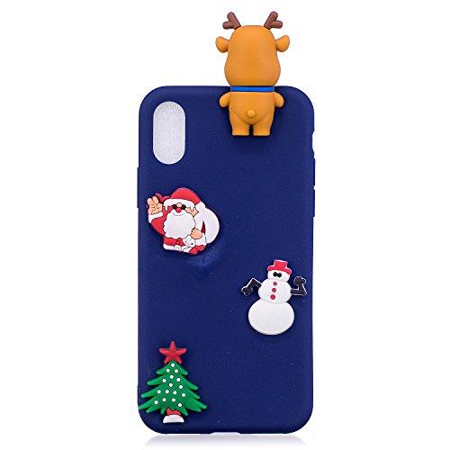 Cover iPhone X Spiritsun Case iPhone X Custodia Silicone Moda Ultraslim Soft TPU Case 3D Diy Handy Kawaii Christmas Cover Souple Flessibile Phone Case Per iPhone X/10(5.8 Pollici) - Cappello di Natale Santa Clause 2