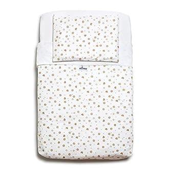 Niimo Next to Me Crib Sheets Set(3 Pieces + Duvet)100% Cotton for Co-Sleeping Cradle Venture Hush Bedside Lullago Kinderkraft UNO Babylo Cozi Tutti Bambini Cozee Dimensions 50x83 (Dove Grey Hearts)