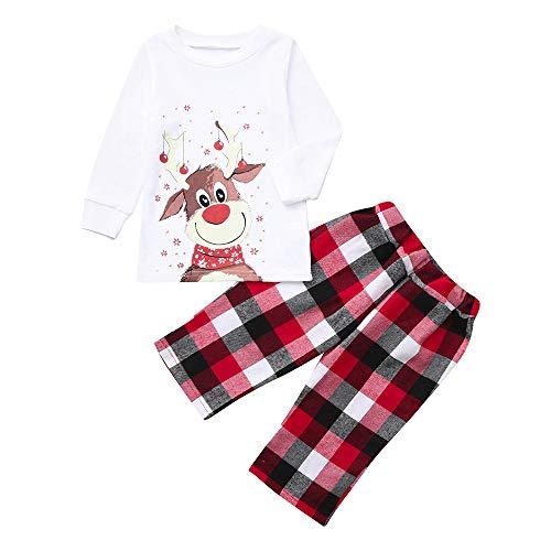 Schwanz Deer Kostüm - OHQ Weihnachten Festlich Familien Outfit, Sweatshirt Pullover Hoodies Mama Daddy Ich Kleine Kitz Top + Gitter Drucken Hose Familie Set Kleidung Sleepwear Sweater Outfit Nachtwäsche