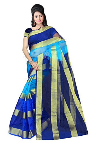 RUHIN Multicoloured (Blue) Organza Nylon Polyester Saree (ONP-004)
