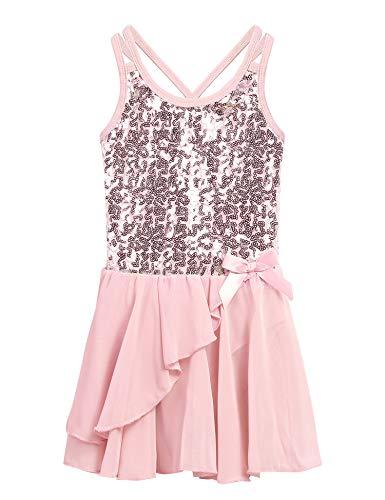 Ballett Kleider Mädchen Glitzer Kinder Ballettkleidung mit Rock Tütü Pailletten Kindertanz Balletttrikot Tanzkleid Tanzbody Kostüme Schwarz Rose Lila 3-11 Jahre