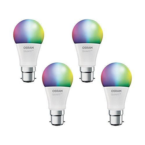 Angebot: OSRAM Smart+ LED, ZigBee Lampe mit B22d Sockel, warmweiß bis tageslicht, Farbwechsel RGB, dimmbar, Direkt kompatibel mit Echo Plus und Echo Show (2. Gen.), Kompatibel mit Philips Hue Bridge, 4er Pack für nur 134,80 € statt bisher 149,90 € auf Amazon