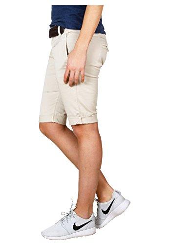 Fresh Made Sommer-Hose Bermuda-Shorts für Frauen | kurze Chino-Hose mit Flecht-Gürtel | Basic Shorts aus Baum-Wolle light-beige