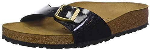 BIRKENSTOCK Damen Madrid Pantoletten, Schwarz Noir Magic Snake Black, 38 EU