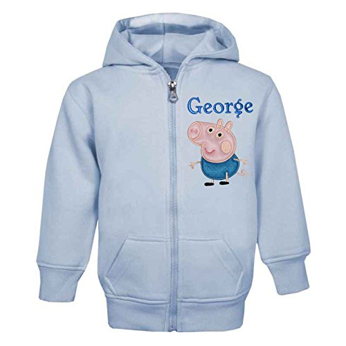 GEORGE PIG PERSONALISED ZIP FRONT HOODIE (BABY BLUE) (1-2 Years)