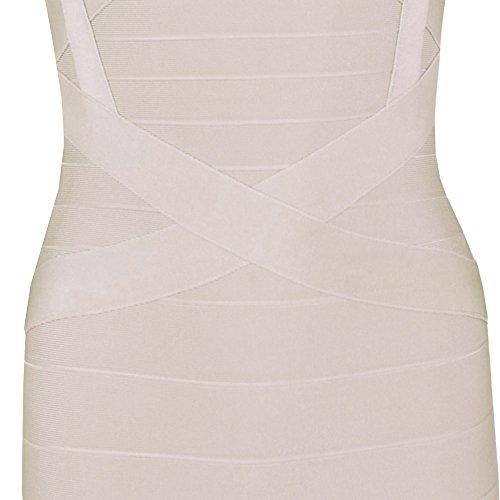 HLBandage Women's Spaghetti Strap Mini Rayon Bandage Dress Beige