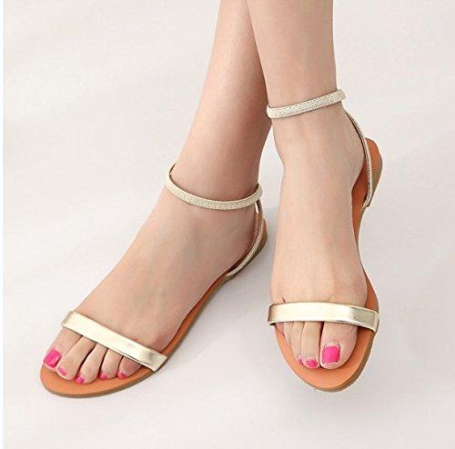 XY&GKDes femmes Femmes Chaussures de confort télévision sandales d'été Simple ligne Sandales orteil nu 35 gold