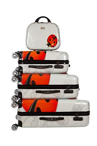 Birendy Reisekoffer Polycarbonat Hartschalen Hardcase Trolley mit Zahlenschloss Koffer Kofferset 4 Rollen einfacher Transport (A 11 Marienkäfer, Set M+L+XL+XXL)