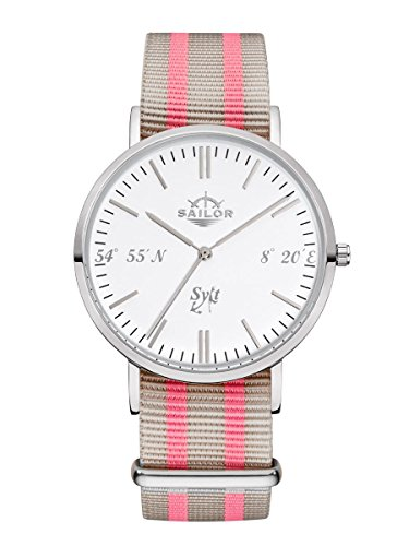 sailor-uhr-sylt-limited-edition-armbanduhr-model-sylt-in-silber-weiss-mit-nylonarmband-quarzuhr-mit-