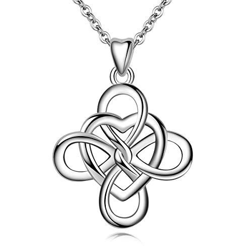AEONSLOVE keltisch Knoten 925 Sterling Silber Herz Unendlichkeit Halskette Anhänger Damen Schmuck