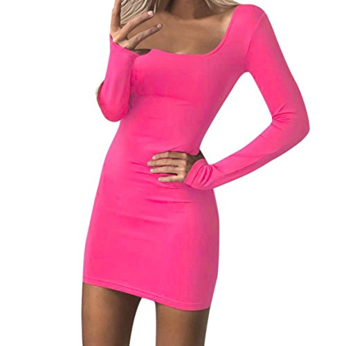 Xinan Damen Kleider Frauen Bodycon Langen Ärmel niedrigen Brust Abend Party Mini Dress Swing Dress Cocktailkleid (M, Hot Pink Sexy) (Tee Plissee-neck)