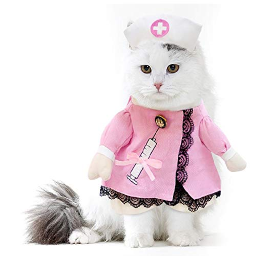 Halloween Dress Up Pet Suit Kleidung Requisiten Hund Katze Krankenschwester Kostüm Haustier Arzt Kleidung Herbst und Winter Kleidung Funny Dog Kostüme Halloween Jeans Outfit Bekleidung -nurse (Funny Dog Outfit)
