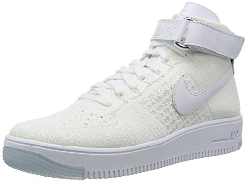 Nike Air Force 1 Ultra Flyknit Mid Herren Sneaker, Blanco (White / White), 41 EU (Flyknit High-top)