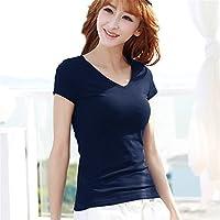 TAIDUJUEDINGYIQIE Camiseta de manga corta para mujer Slim manga corta Color sólido Verano Nuevo estilo, Azul marino V-neck, XXXL