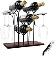 WILLPOWER Wine Rack Countertop, Hold 4 Bottles and 4 Glasses Wine Holder Storage Stand, Rustic Wood Wine Displ