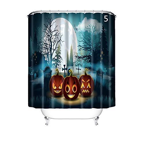 (AnazoZ Anti-Schimmel Duschvorhang inkl. 12 Duschvorhangringe Halloween Badewanne Vorhang Anti-Bakteriell Waschbar Wasserdicht PEVA für Badzimmer - Stil 5 90x180cm)
