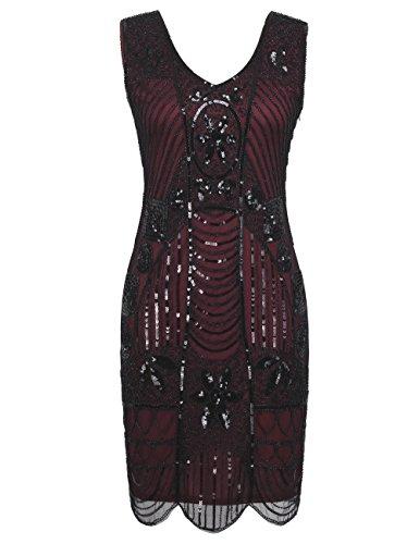 kayamiya Damen Retro 1920er Perlen Pailletten Blatt Art Deco Gatsby Flapper Kleid M Burgund