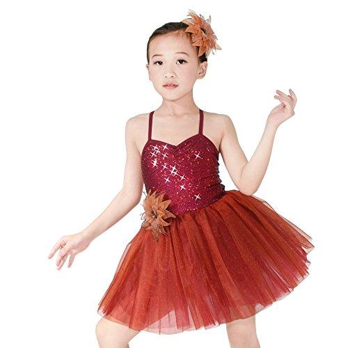 MiDee Kleine Mädchen Hemdchen, Oder So Was Pailletten Liebsten Ballett Ballettröckchen Kleid Tanz Kostüm (Wein, SC)