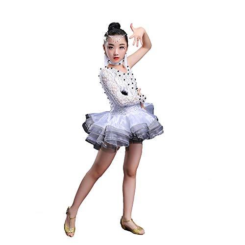 Dance Hot Kostüm Latin - HUO FEI NIAO Tanzkostüm - Latin Dance Kostüm Hot Diamond Bead Performance Wettbewerb Fluffy Rock (Farbe : Weiß, größe : 120cm)