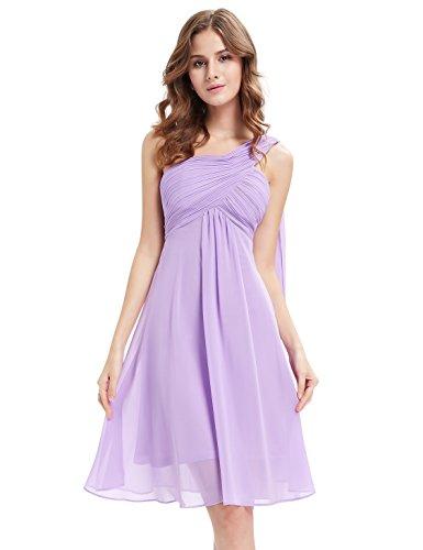 Ever Pretty Robe de Demoiselle d'honneur avec une ¨¦paule en fleur de volant 03537 Violet clair