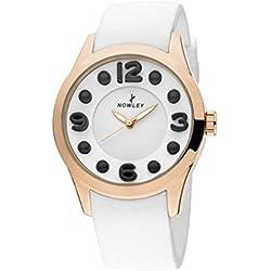 Reloj NOWLEY 8-5234-0-5 - Reloj mujer caja metal dorado rosa y correa silicona blanca