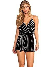 b921ded3b27 DRESHOW Women Sexy Strap Backless Summer Beach Party Romper Jumpsuit