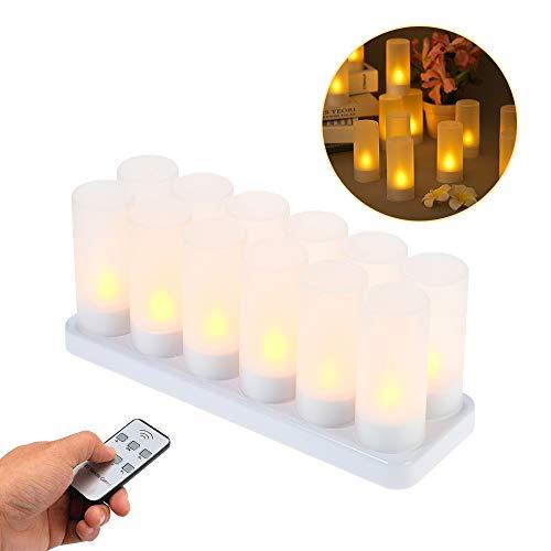 Decdeal Flammenlose Kerzen LED Teelichter Wiederaufladbaren Gelben Flackernden mit Fernbedienung und Mattierten Tassen Raumdekoration (4PCS / 6PCS/12PCS, Optional) - Plug-ladestation Keine