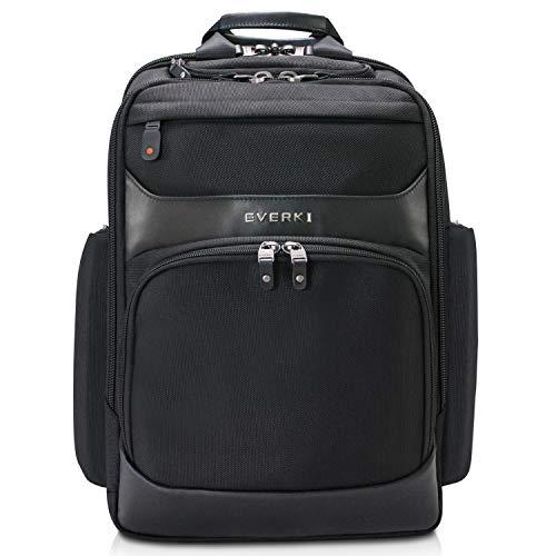 Everki Onyx - Edler Laptoprucksack für Notebooks bis 15 Zoll mit patentiertem Eckenschutzsystem, Trolley Lasche, RFID-Schutzfach, Brillen-Hartschalenfach