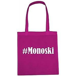 Tasche #Monoski Größe 38x42 Farbe Pink Druck Weiss