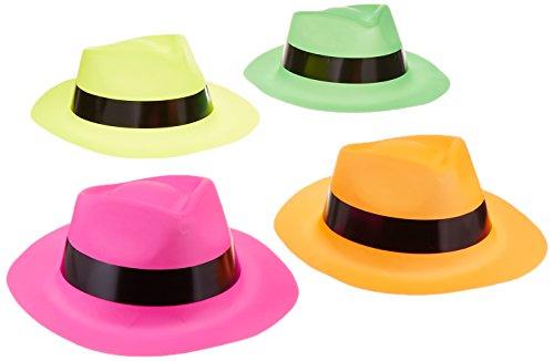 adorox (12) Neon Farbe Kunststoff Gangster Hüte fedora Partyzubehör, sortiert