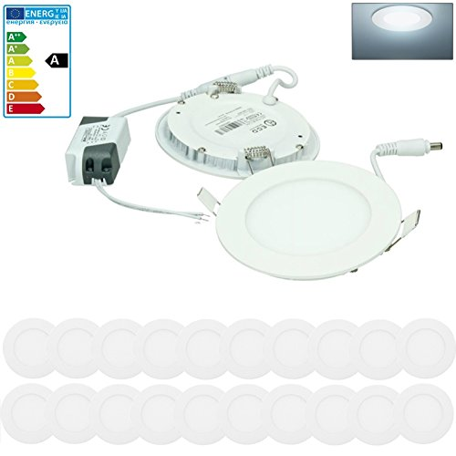 ECD Germany 20-er Pack LED Einbaustrahler 6W - Panel Deckenstrahler ultraslim - 220-240V - SMD 2835 - Ø12 cm - kaltweiß 6500K - runder Einbauleuchten Spot für Flur, Bad oder Küche