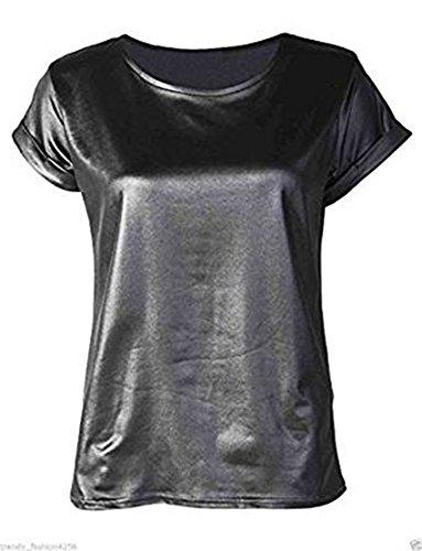 Fashion Essential-Women Celebrity JESSIE J Wet Look drehen Hülse PVC T-Shirt oben Black