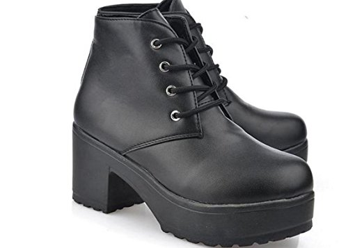 Scarpe XDGG New Spring singole PU artificiale Women Shoes tacco alto scarpe impermeabili black
