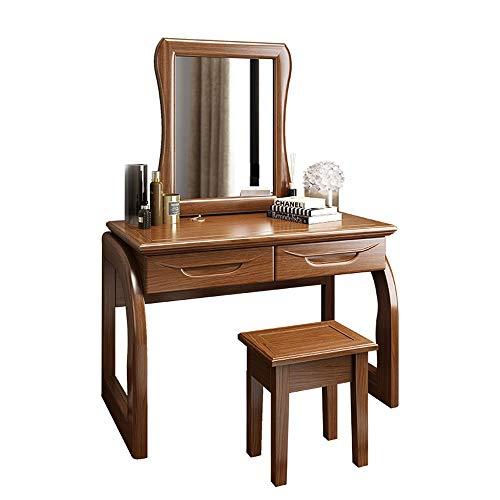 Tocadores Sólido madera de nogal Vanidad conjunto con espejo y taburete de madera sólida con 2 cajones...